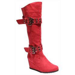 2 Lips Too Womens Too Nye Buckle Wedge Boots