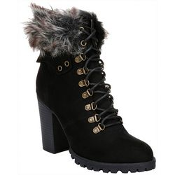 Fergalicious Womens Jackie Faux Fur Collar Boots