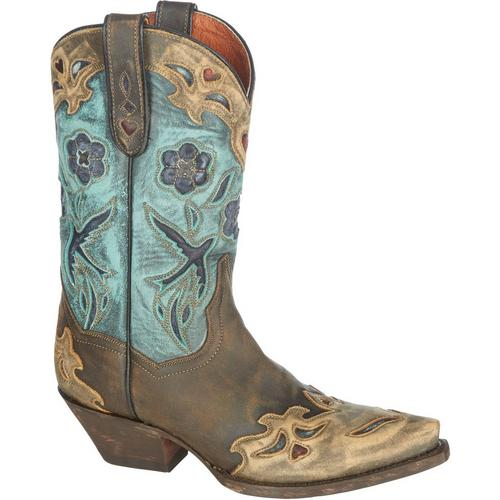 a369612e1dd Dan Post Womens Vintage Blue Bird Cowboy Boots