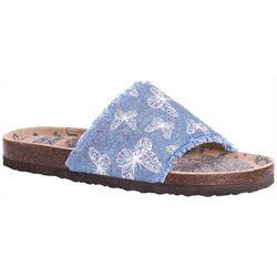 Muk Luks Womens Brooke Butterfly Denim Sandals