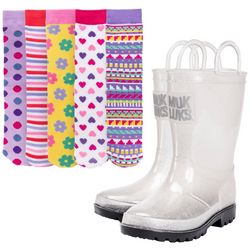 Muk Luks Girls Pattern Socks & Rainboots Set