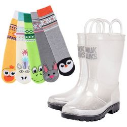 Muk Luks Girls Critter Socks & Rainboots Set