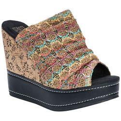 Muk Luks Womens Peyton Printed Wedge Sandals