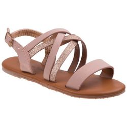 Nanette Lepore Girls Strappy Shimmer Sandals