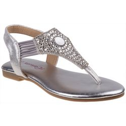 Girls Rhinestone Thong Sandals