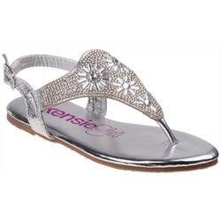 Girls Flower Jewel Thong Sandals