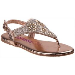 Girls Flower Jewel Thong Sandals