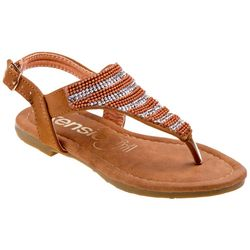 Girls Beaded Striped Sandals