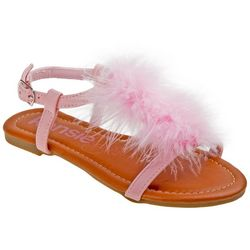 Girls Faux Fur Sandals