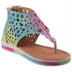 Kensie Girl Girls Rainbow Glitter Cut-Out Sandals