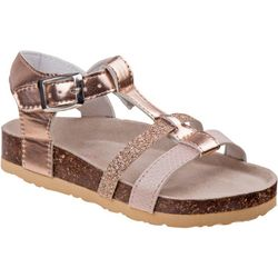Laura Ashley Girls Glitter T-Strap Sandals
