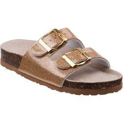 Laura Ashley Girls Metallic Double Strap Sandals