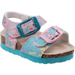 Laura Ashley Toddler Girls Glitter Floral Sandals