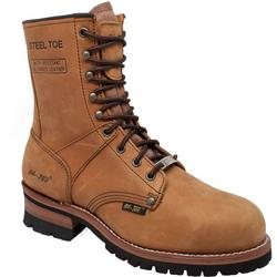 Mens 9'' Steel Toe Brown Logger Boots
