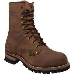 AdTec Mens 9'' Brown Soft Toe Logger Boots
