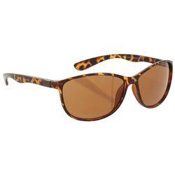 Womens Tortoise Brown Rectangular Wrap Sunglasses