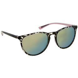 Reel Legends Womens Green & Tortoise Print Round Sunglasses