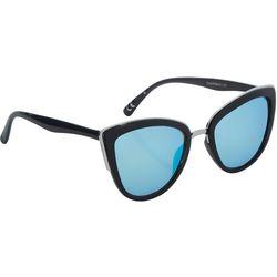 Steve Madden Womens Blue Mirror Cateye Sunglasses