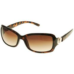 Womens Brown  Rectangle Plastic Sunglasses
