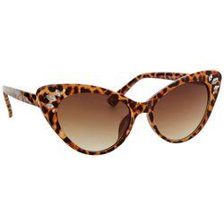 Betsey Johnson Womens Leopard Rhinestone Cat Eye Sunglasses