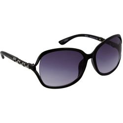 Bay Studio Womens Black Square Butterfly Vented Sunglasses