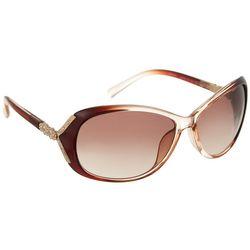 Bay Studio Womens Brown Oval Flower Side Sunglasses