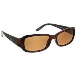 Reel Legends Womens Tortoise Brown Rectangle Sunglasses