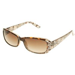 Bay Studio Womens Etched Rectangular Sunglasses