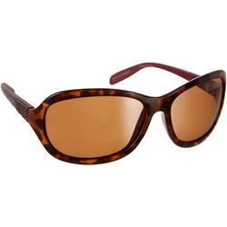 Womens Tortoise Print Round Wrap Sunglasses