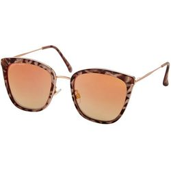French Connection Womens Mirrored Tortoise Cateye Sunglasses
