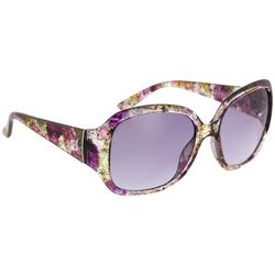 Womens Floral Rectangular Sunglasses