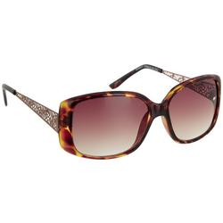 Womens Tortoise Rectangular Sunglasses