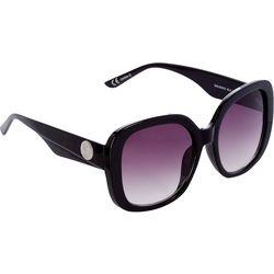Steve Madden Womens Black Large Square Frame Sunglasses