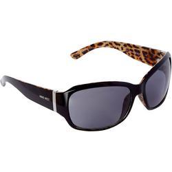 Womens Leopard Rectangle Sunglasses