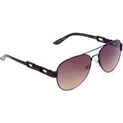 Nine West Womens Black Chain Link Aviator Sunglasses