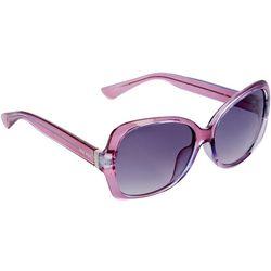 Nine West Womens Square Crystal Purple Plastic Sunglasses
