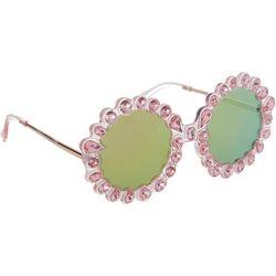 Betsey Johnson Womens Round Embellished Sunglasses