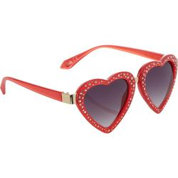 Womens Jeweled Heart Sunglasses