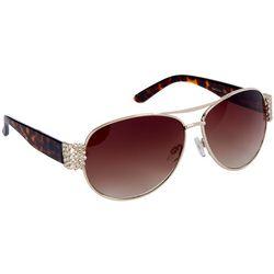 Betsey Johnson Womens Tortoise And Metal Aviator Sunglasses