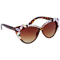 Betsey Johnson Womens Jeweled Cat Eye Sunglasses