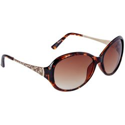 Betsey Johnson Womens Tortoise Wordmark Sunglasses