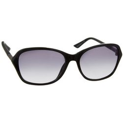 Nine West Womens Black Rectangular Round Arm Sunglasses