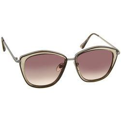 Nine West Womens Clear Taupe Square Sunglasses