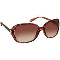Bay Studio Womens Tortoise Brown Rectangular Sunglasses