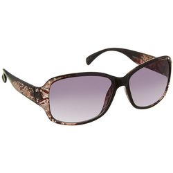 Bay Studio Womens Rectangular Snake Print Sunglasses