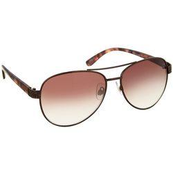 Womens Bronze Brown Aviator Sunglasses