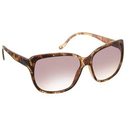 Bay Studio Womens Rectangular Tortoise Brown Sunglasses