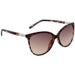 Bay Studio Womens Rhinestone Cat Eye Brown Sunglasses