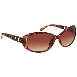 Bay Studio Womens Tortoise Brown Oval Sunglasses