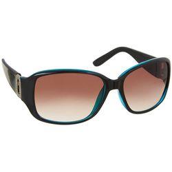 Bay Studio Womens Rectangular Black & Blue Sunglasses